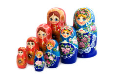 Matrioshka on white close up Stock Images