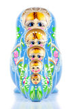 Matrioska Russian Doll. Hand-painted, isolated in white background, shadow underneath Stock Photo