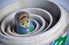 Matrioska Russian Doll. The smallest of the Matrioska Russian Dolls, inside the others Stock Photos