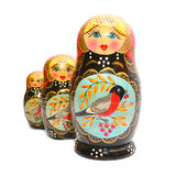 Matrioska. Russian traditional wooden dolls isolated on white Stock Image