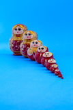 Matrioska in single file. From the small one to big one Royalty Free Stock Image