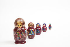 Matrioskas. A typical russian dolls in a vanishing point position Stock Photography