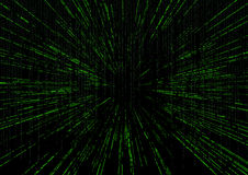 Matrix background with the green zoom fast motion speed lines  Royalty Free Stock Image