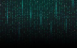 Matrix background. Streaming binary code. Falling digits on dark backdrop. Data concept. Abstract futuristic texture. Trendy vector illustration stock illustration