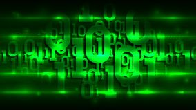 Matrix binary code on dark green background of abstract circuit board, internet of things; big data, artificial intelligence royalty free illustration