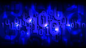 Matrix blue background with binary code, shadow digital code in abstract futuristic cyberspace, artificial intelligence vector illustration