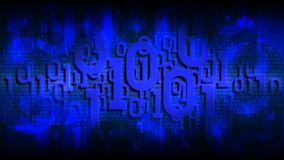 Matrix blue background with binary code, shadow digital code in abstract futuristic cyberspace, cloud of big data vector illustration