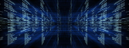 Matrix on blue with rays Royalty Free Stock Image