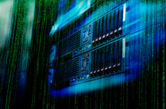 Matrix code Blade server is a close-up with motiom and blur Royalty Free Stock Photo
