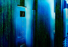 Matrix code door mainframe screen and status bar blur focus Royalty Free Stock Image