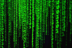 Matrix, computer code, green, digital, numbers, 01, cosmic, cyberspace, Internet Stock Photo