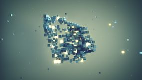 Matrix of cubes in space abstract 3D render. Matrix of cubes in space. Abstract futuristic technology concept. 3D render stock illustration