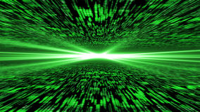 Matrix 3d - flying through energized cyberspace, light on the ho Stock Photos