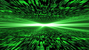 Matrix 3d - flying through energized cyberspace, light on the ho. Rizon, 4k background Royalty Free Stock Photos