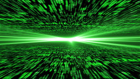 Matrix 3d - flying through energized cyberspace, light on the ho Royalty Free Stock Images