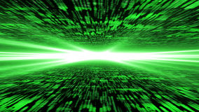 Matrix 3d - flying through energized cyberspace, strong light on. The horizon, 4k background Royalty Free Stock Images