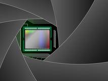 Matrix of the digital camera. Through the diaphragm Royalty Free Stock Photos