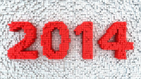 Matrix 2014. Digits 2014 made from red matrix of cubes Royalty Free Stock Photos