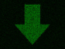 Matrix down arrow. Green arrow of random symbols. May be good for computer or networking theme Royalty Free Stock Images