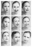 Matrix of emotions. Nine black and white portraits of pretty girl with various facial expressions Stock Photography