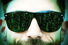 Matrix on glasses Royalty Free Stock Photography