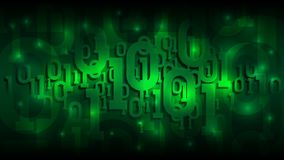 Matrix green background with binary code, shadow digital code in abstract futuristic cyberspace, artificial intelligence vector illustration