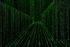 Matrix style cyber corridor as big data storage Royalty Free Stock Image