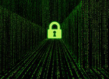 Matrix style cyber locked corridor as big data storage locked Stock Images