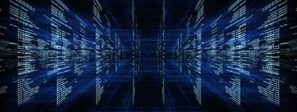 Matrix sur le bleu avec des rayons Image libre de droits