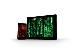 Matrix on tablet and smartphone screens Royalty Free Stock Image