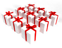 Matrix of white gift boxes. A matrix of white gift boxes, tied with red ribbons stock illustration