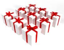 Matrix of white gift boxes Stock Photos