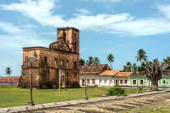 Matriz Church ruins in the historic Alcantara, Maranhao, Brazil. Iconic views of Brazil: Matriz Church ruins in the historic city of Alcantara near Sao Luis stock photo