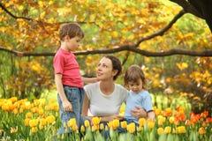Matriz com as crianças no jardim entre tulips imagens de stock