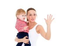 Matriz com bebê pequeno Fotografia de Stock