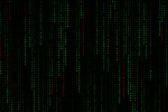 Matriz digital verde clara del fondo del texto que cae del top con el virus, el ransomware, el spyware, el troyano y los gusanos  fotos de archivo libres de regalías