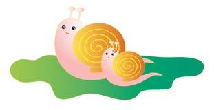Matriz e bebê do caracol dos desenhos animados Fotografia de Stock Royalty Free