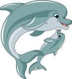 Matriz e bebê do golfinho Imagens de Stock Royalty Free
