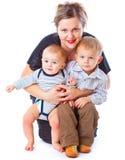 Matriz e dois meninos fotografia de stock royalty free