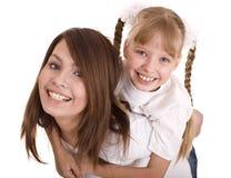 Matriz e filha felizes da família. Fotografia de Stock