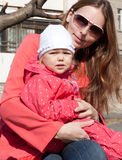 Matriz e filha na cor-de-rosa. Fotografia de Stock