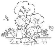 Matriz e filha que andam no parque Imagens de Stock