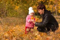 Matriz e filha que jogam no outono imagens de stock royalty free