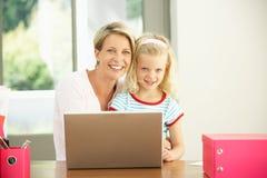 Matriz e filha que usa o portátil em casa Foto de Stock