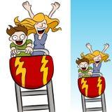 Matriz e filho que montam um roller coaster fotos de stock