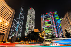 Matriz em Hong Kong: Banco da China, Cheung Kong Hutchison Holdings, HSBC, banco de Standard Chartered Fotografia de Stock Royalty Free