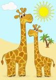 Matriz-giraffe e bebê-giraffe. Fotos de Stock