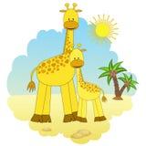 Matriz-giraffe e bebê-giraffe. Imagens de Stock Royalty Free