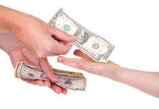 Matriz que dá o dinheiro da criança Fotografia de Stock Royalty Free