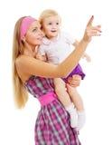 Matriz surpreendida e bebê que anticipam foto de stock